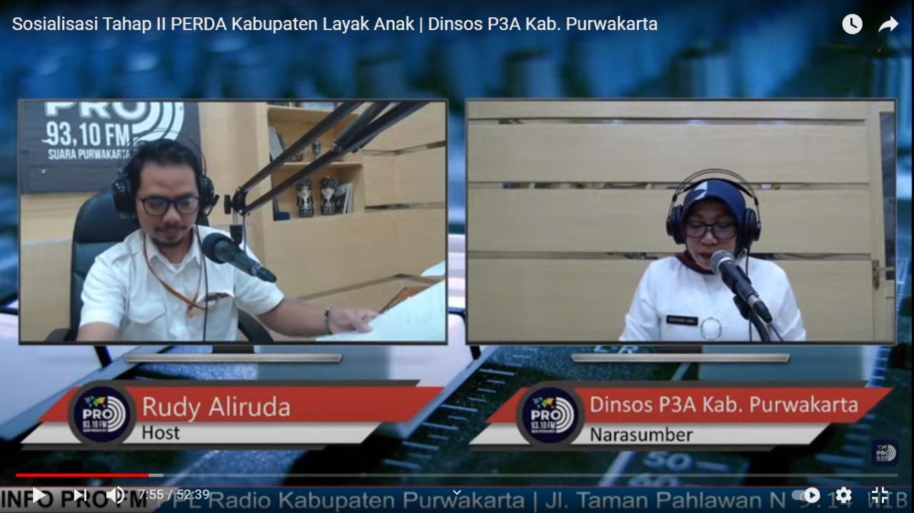 Selasa, 16 Februari 2021 Sosialisasi Tahap II PERDA Kabupaten Layak Anak di Radio 93.1 FM